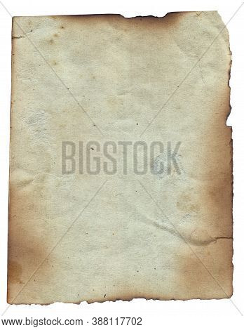 Old Vintage Texture Retro Paper With Burned Edges, Stains And Scratches Background