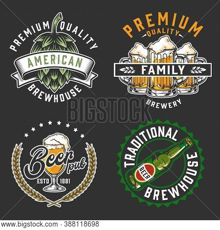 Brewery Vintage Logos Set With Hop Cone Wheat Ears Beer Bottle Glass And Mugs On Dark Background Iso