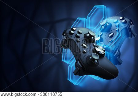 Futuristic Games. Video Games Concept. The Gamepad Controls The Flying Robot Of Their Video Game. Bl