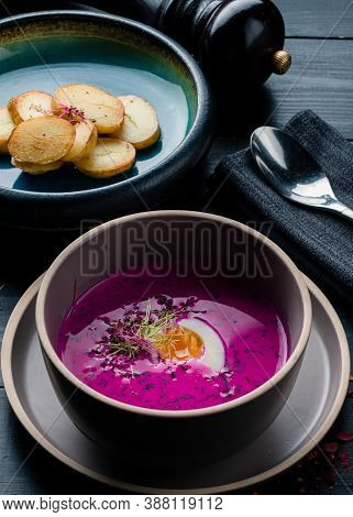 Cold Borsch. Cold Vegetable Soup Made Of Beetroot, With Egg. Traditional Polish Dish Beetroot Soup W