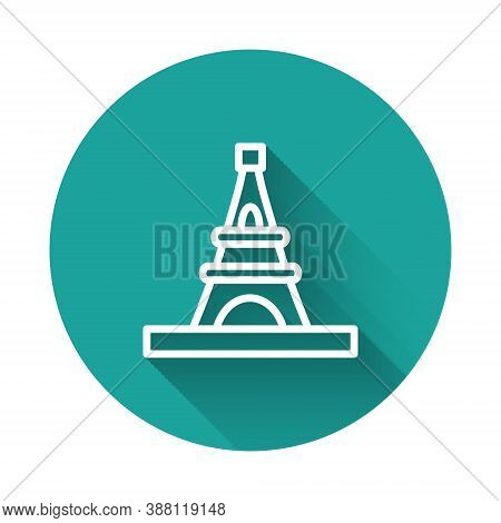 White Line Eiffel Tower Icon Isolated With Long Shadow. France Paris Landmark Symbol. Green Circle B