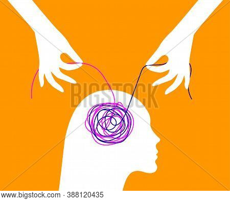 Decision Of Psychological Problems Concept. Therapist Unraveling Tangle