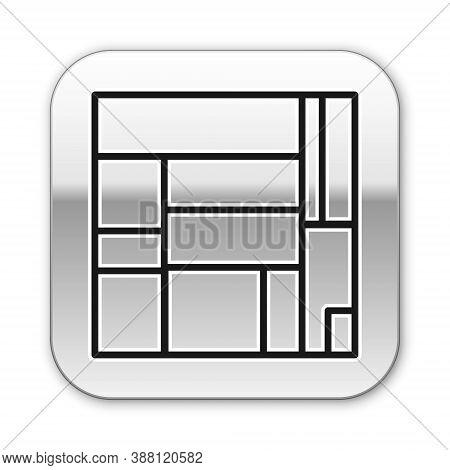 Black Line House Edificio Mirador Icon Isolated On White Background. Mirador Social Housing By Mvrdv