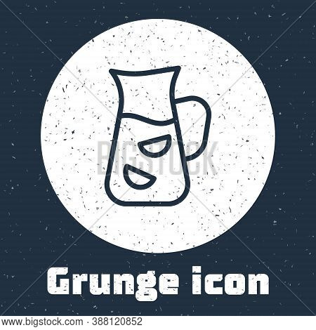 Grunge Line Sangria Icon Isolated On Grey Background. Traditional Spanish Drink. Monochrome Vintage