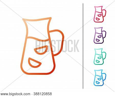 Red Line Sangria Icon Isolated On White Background. Traditional Spanish Drink. Set Color Icons. Vect