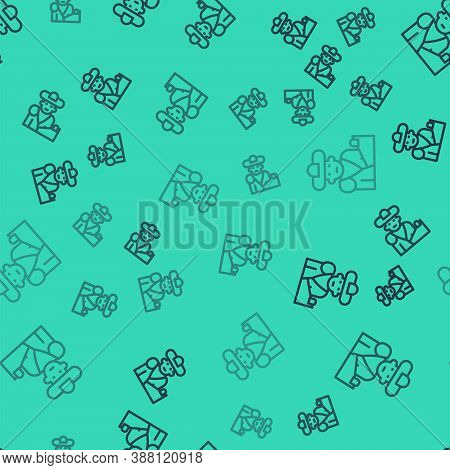 Black Line Spain Bullfight, Matador Icon Isolated Seamless Pattern On Green Background. Traditional