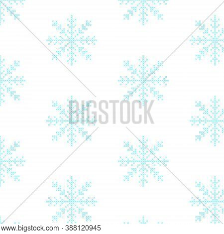 The Seamless Pattern With The Cross-stitch Blue Snowflakes Is On The White Background.