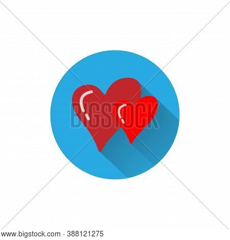 Hearts Colorful Flat Icon With Shadow. Wedding Flat Icon