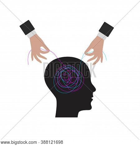 Decision Of Psychological Problems Concept. Therapist Unravels Tangle