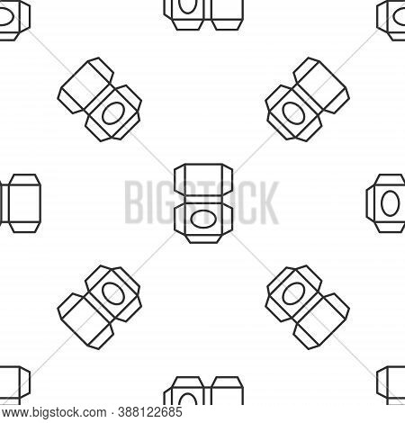 Grey Line Carton Cardboard Box Icon Isolated Seamless Pattern On White Background. Box, Package, Par