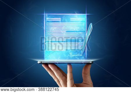 Concept For Electronic Signature, Distance Business, Mobile Phone And Contract Hologram Image For Si