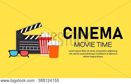 Movie Time Banner. Cinema. Film Industry. Vector On Isolated Background. Eps 10