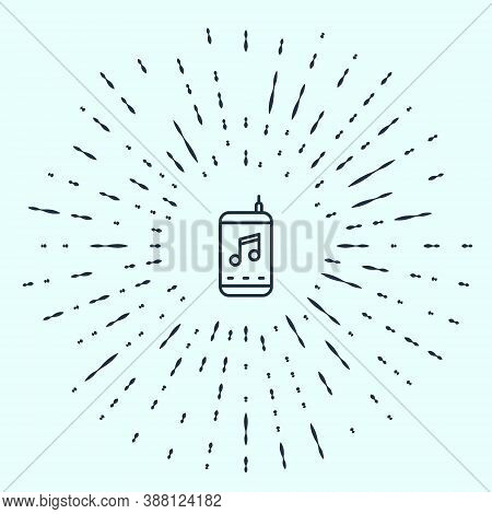 Black Line Music Player Icon Isolated On Grey Background. Portable Music Device. Abstract Circle Ran
