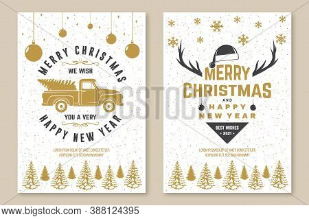 Set Of Merry Christmas And 2021 Happy New Year Poster, Flyer, Greeting Cards. Set Quotes With Snowfl