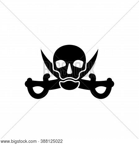 Human Skull In Full Face And Crossed Sabers Behind. Pirate Sign And Symbol For Design. Isolated Illu