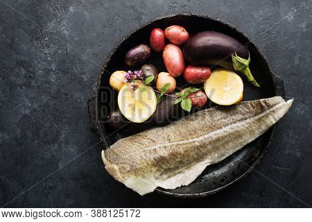 Skinned White Sea Fish Cod Fillet With Ingredients For Simple Homemade Healthy Comfort Food. Top Vie