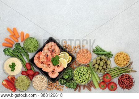 Low glycemic health food for diabetics with vegetables,  seafood, dips, nuts & pasta. All foods below 55 on the GI index. High in antioxidants, vitamins, minerals, protein, omega 3 & smart carbs.
