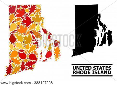 Mosaic Autumn Leaves And Solid Map Of Rhode Island State. Vector Map Of Rhode Island State Is Made W