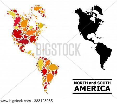 Mosaic Autumn Leaves And Solid Map Of South And North America. Vector Map Of South And North America