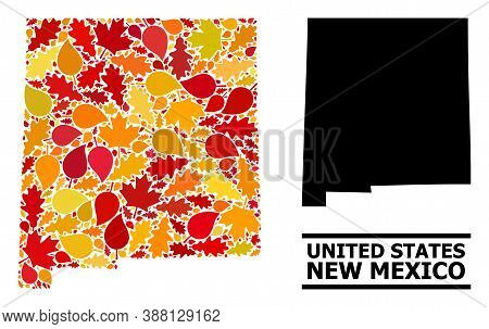 Mosaic Autumn Leaves And Usual Map Of New Mexico State. Vector Map Of New Mexico State Is Formed Of