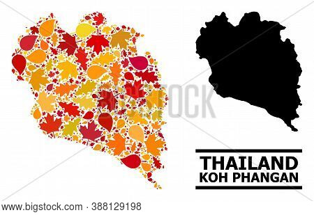 Mosaic Autumn Leaves And Solid Map Of Koh Phangan. Vector Map Of Koh Phangan Is Done With Randomized