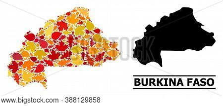 Mosaic Autumn Leaves And Solid Map Of Burkina Faso. Vector Map Of Burkina Faso Is Designed Of Random