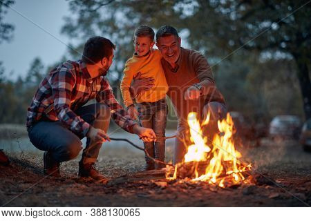 Grandfather, father and son camping together in the woods; Spring or autumn camping with campfire at night ; camping, travel, tourism, hike and people concept. Quality family time together.