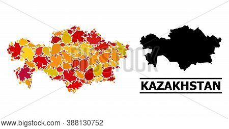 Mosaic Autumn Leaves And Solid Map Of Kazakhstan. Vector Map Of Kazakhstan Is Formed With Scattered