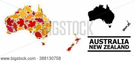 Mosaic Autumn Leaves And Usual Map Of Australia And New Zealand. Vector Map Of Australia And New Zea