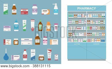 Large Rack With Medicines Isolated On White Background. And Set Of Tablets, Sprayers And Bottles For