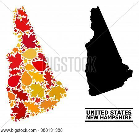 Mosaic Autumn Leaves And Usual Map Of New Hampshire State. Vector Map Of New Hampshire State Is Cons