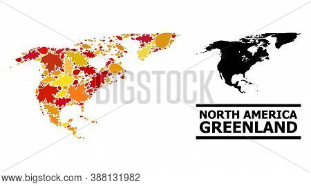 Mosaic Autumn Leaves And Solid Map Of North America And Greenland. Vector Map Of North America And G