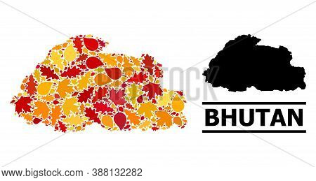 Mosaic Autumn Leaves And Usual Map Of Bhutan. Vector Map Of Bhutan Is Organized With Random Autumn M