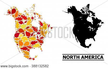 Mosaic Autumn Leaves And Usual Map Of North America. Vector Map Of North America Is Made With Random