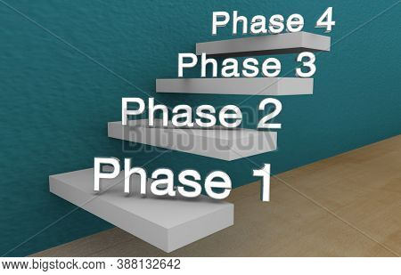 Phase 1 2 3 4 Four Step Process Part Stages Clinical Trial 3d Illustration