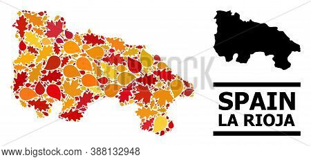 Mosaic Autumn Leaves And Solid Map Of La Rioja Spanish Province. Vector Map Of La Rioja Spanish Prov
