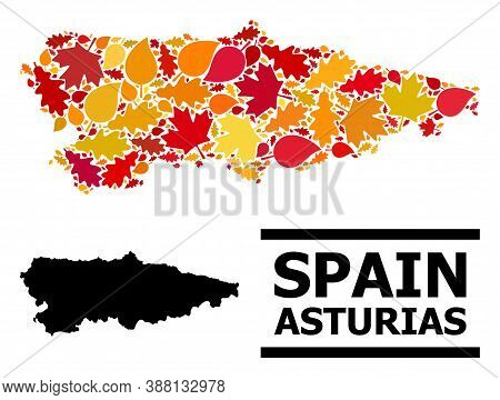 Mosaic Autumn Leaves And Usual Map Of Asturias Province. Vector Map Of Asturias Province Is Composed