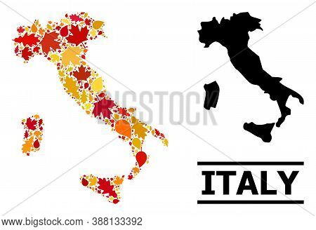Mosaic Autumn Leaves And Solid Map Of Italy. Vector Map Of Italy Is Made Of Random Autumn Maple And
