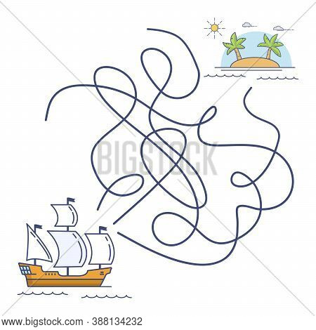 Maze Game Ship, Education Game For Children.sailing Galleon Floats By Sea To The Tropical Island Wit