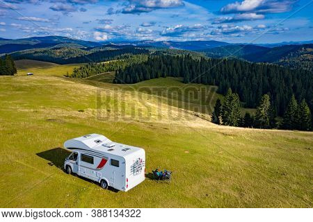 Beautiful camper travel location in the heart of Transylvania, Romania, with amazing views
