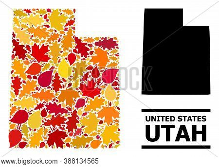 Mosaic Autumn Leaves And Usual Map Of Utah State. Vector Map Of Utah State Is Made Of Random Autumn