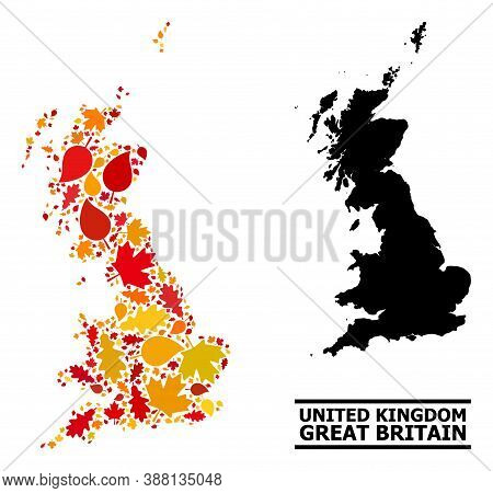 Mosaic Autumn Leaves And Solid Map Of Great Britain. Vector Map Of Great Britain Is Designed From Ra
