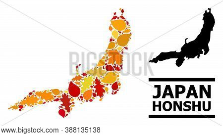 Mosaic Autumn Leaves And Usual Map Of Honshu Island. Vector Map Of Honshu Island Is Shaped Of Random