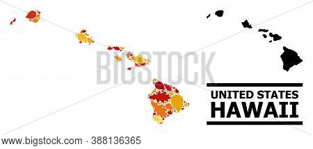 Mosaic Autumn Leaves And Usual Map Of Hawaii State. Vector Map Of Hawaii State Is Organized From Sca