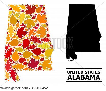 Mosaic Autumn Leaves And Usual Map Of Alabama State. Vector Map Of Alabama State Is Composed From Ra