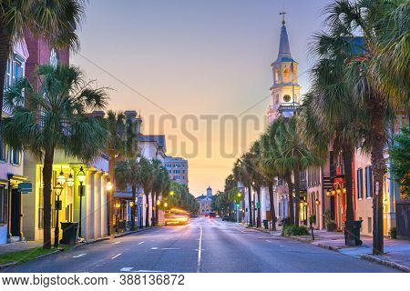 Charleston, South Carolina, USA in the French Quarter at twilight.