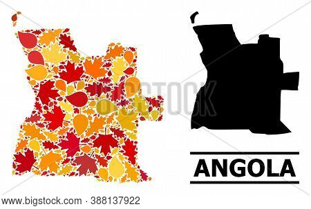 Mosaic Autumn Leaves And Solid Map Of Angola. Vector Map Of Angola Is Composed Of Random Autumn Mapl