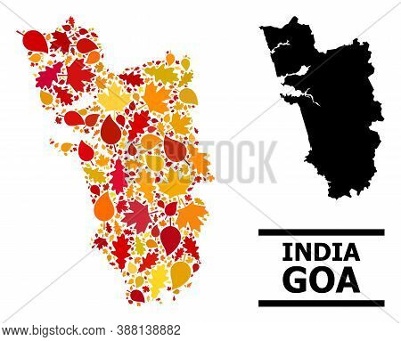 Mosaic Autumn Leaves And Usual Map Of Goa State. Vector Map Of Goa State Is Formed Of Scattered Autu