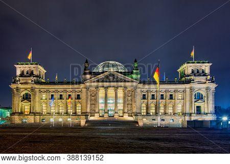 Berlin / Germany - February 16th 2017: Reichstag Building (deutscher Bundestag), Parliament Of Germa