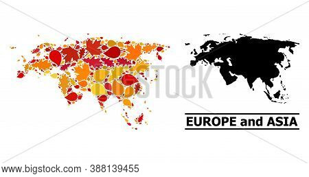 Mosaic Autumn Leaves And Usual Map Of Europe And Asia. Vector Map Of Europe And Asia Is Created Of R